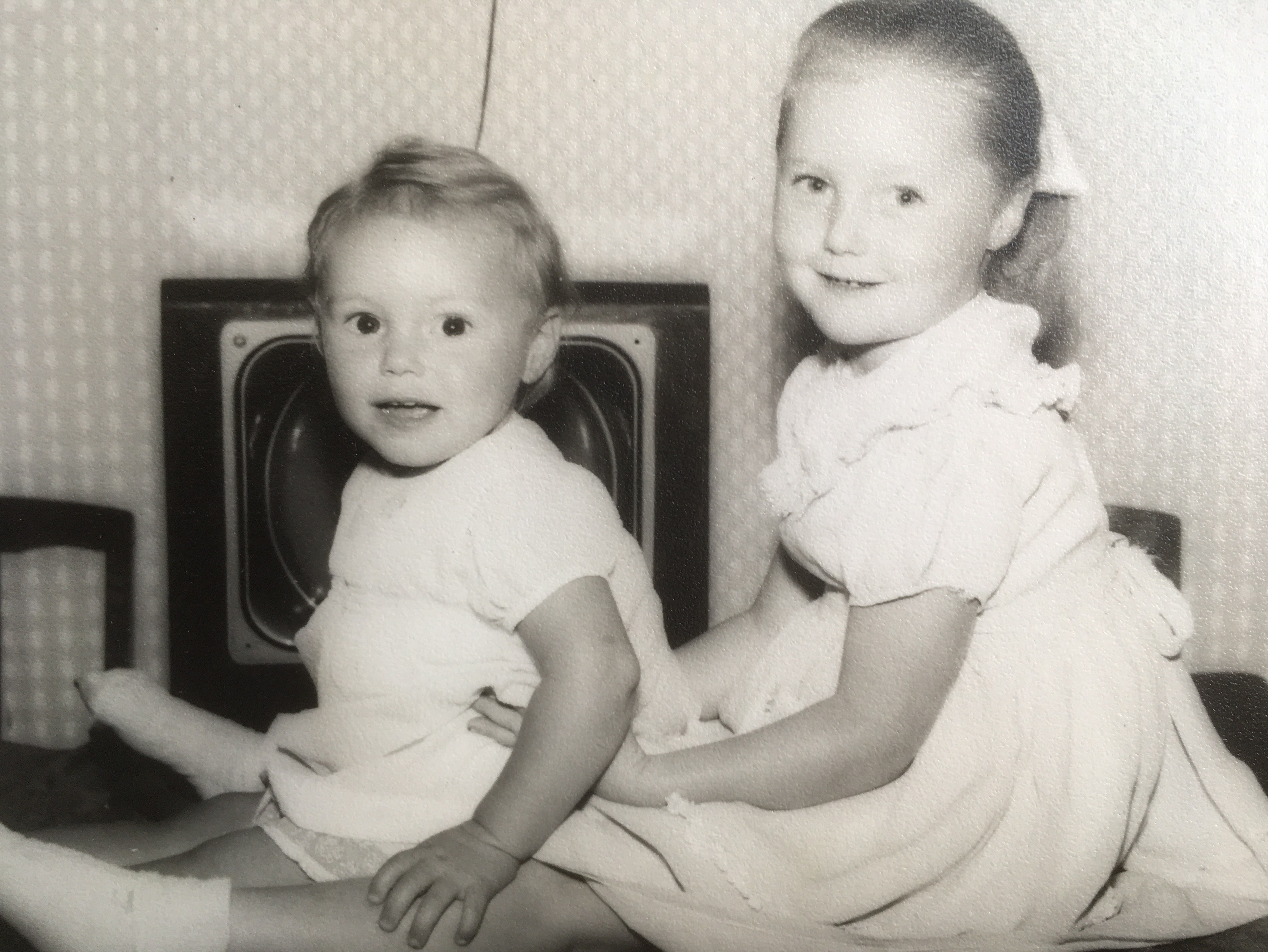 age 2 with sister